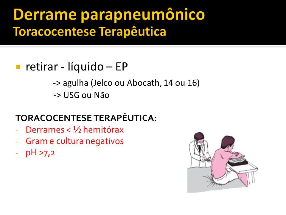 Derrame parapneumônico Toracocentese Terapêutica