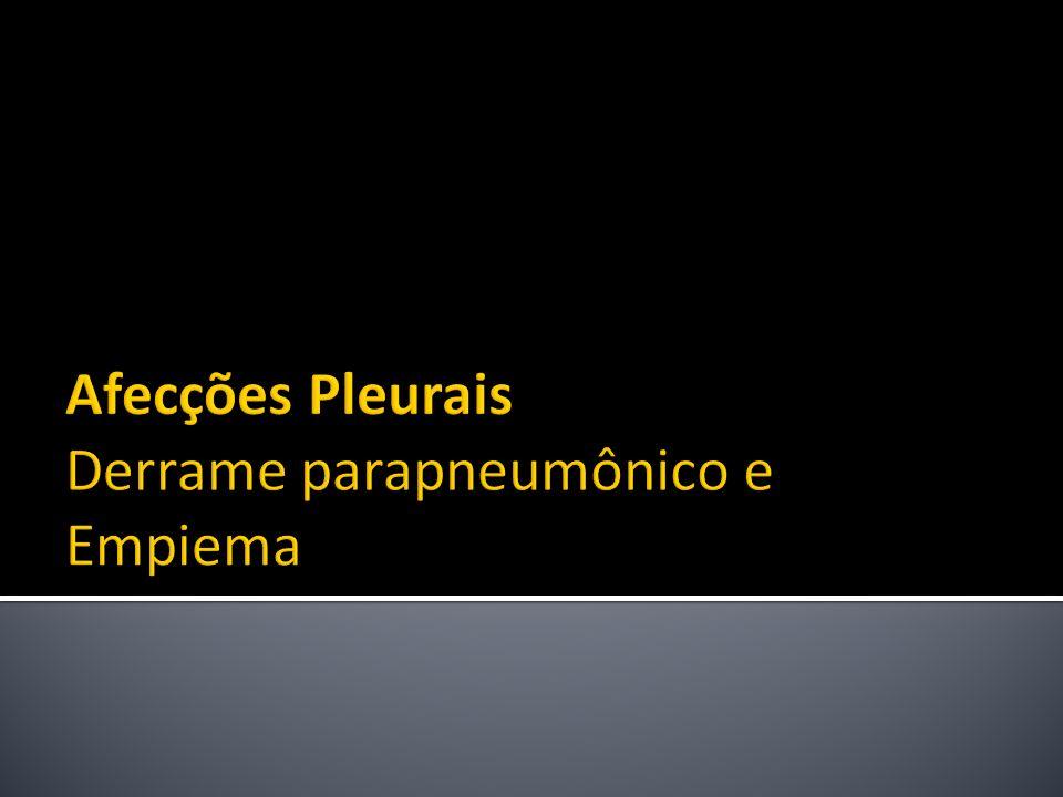 Afecções Pleurais Derrame parapneumônico e Empiema