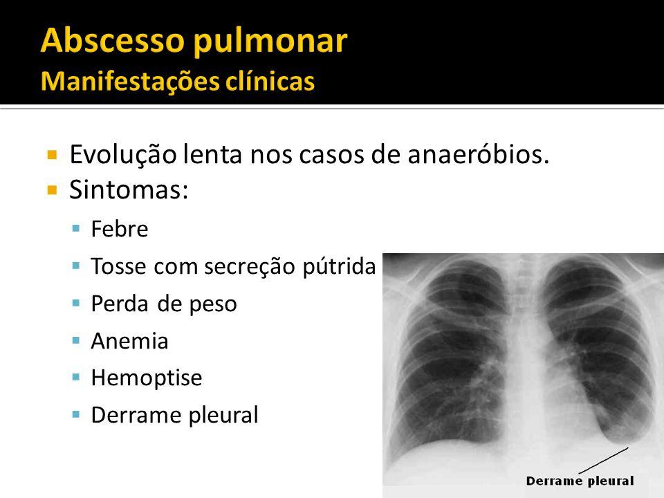Abscesso pulmonar Manifestações clínicas