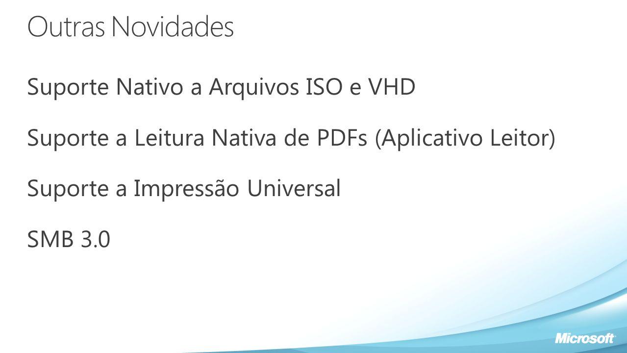 Outras Novidades Suporte Nativo a Arquivos ISO e VHD