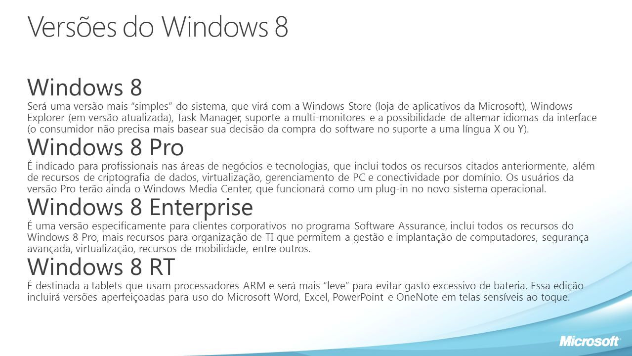 Versões do Windows 8