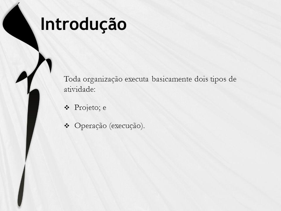Introdução Toda organização executa basicamente dois tipos de atividade: Projeto; e.