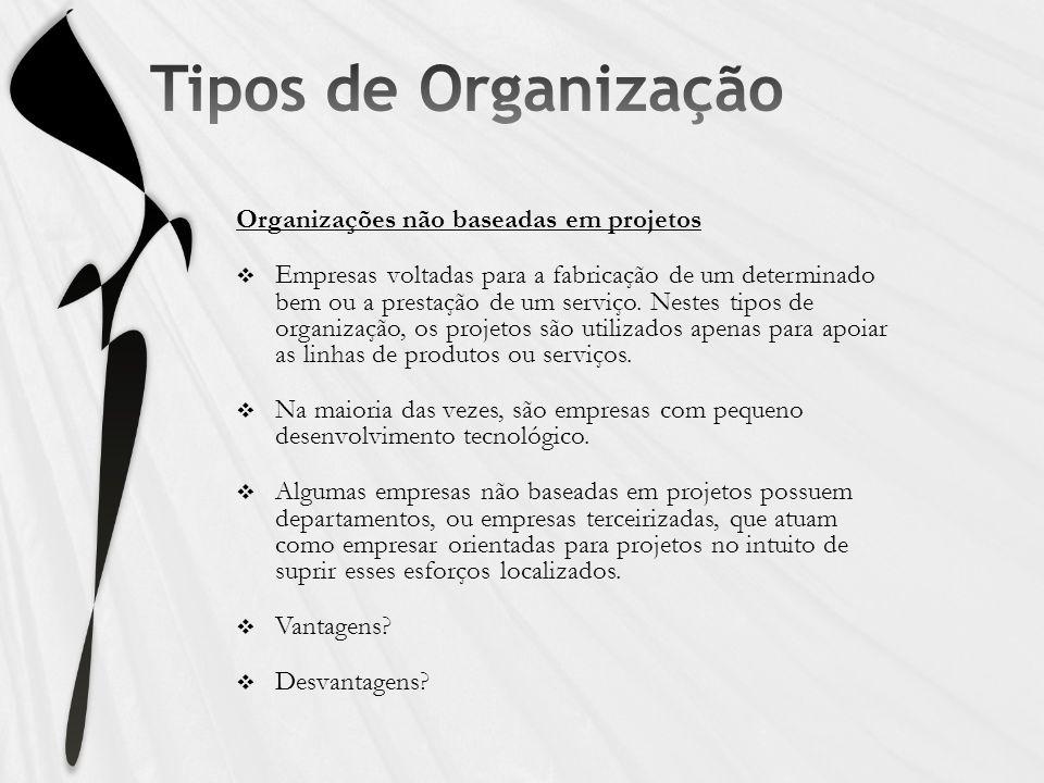 Tipos de Organização Organizações não baseadas em projetos