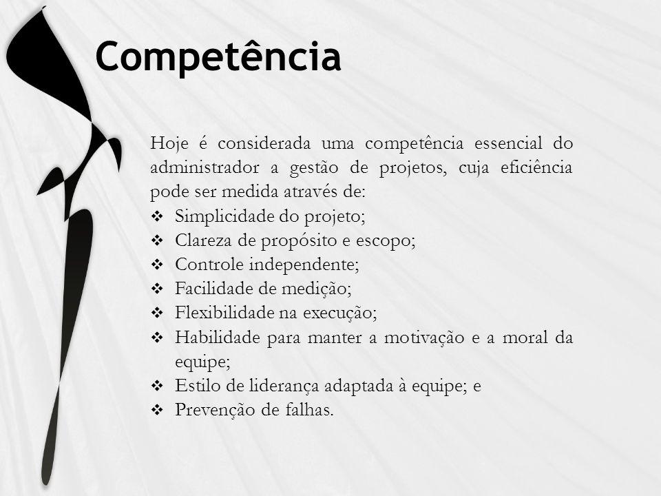 Competência Hoje é considerada uma competência essencial do administrador a gestão de projetos, cuja eficiência pode ser medida através de: