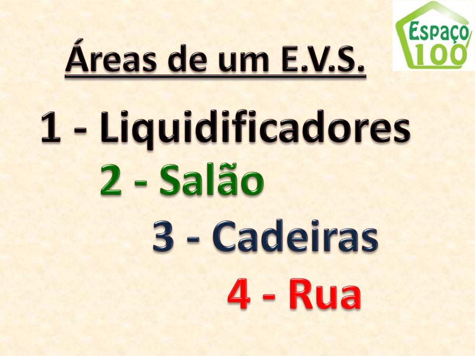 1 - Liquidificadores 2 - Salão 3 - Cadeiras 4 - Rua