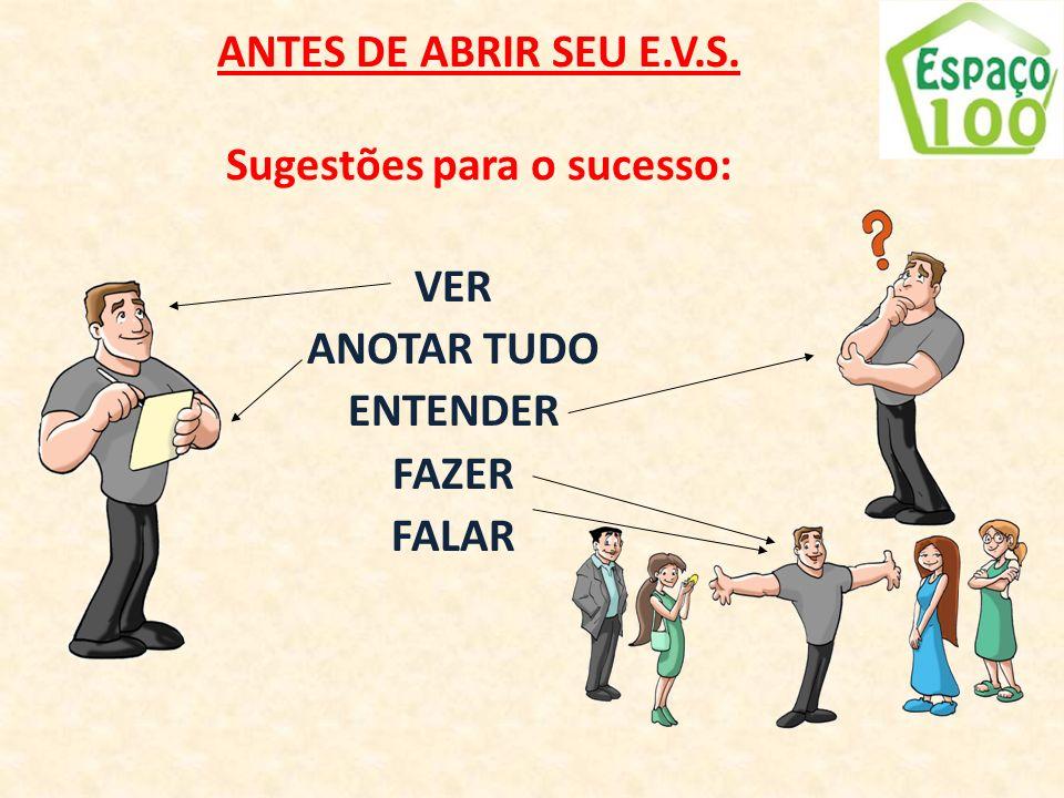 ANTES DE ABRIR SEU E.V.S. Sugestões para o sucesso:
