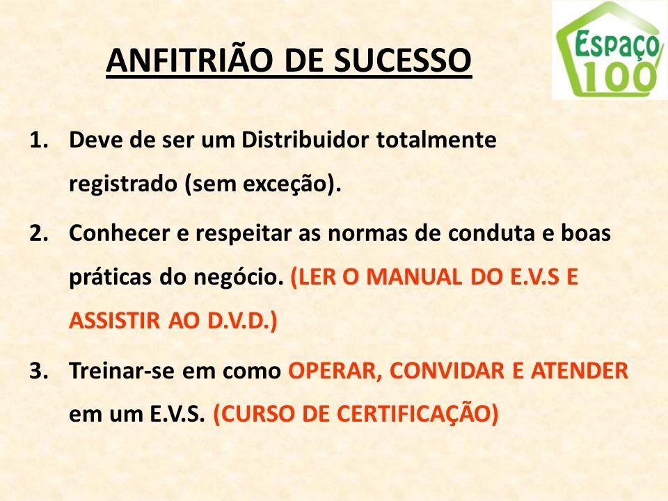 ANFITRIÃO DE SUCESSO Deve de ser um Distribuidor totalmente registrado (sem exceção).