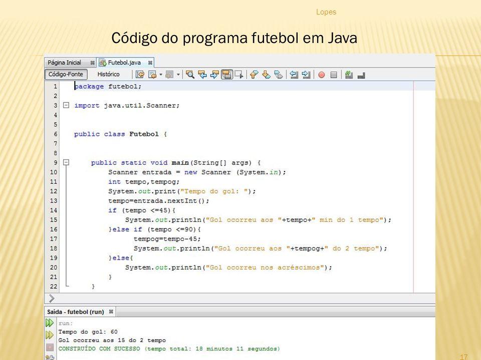 Código do programa futebol em Java