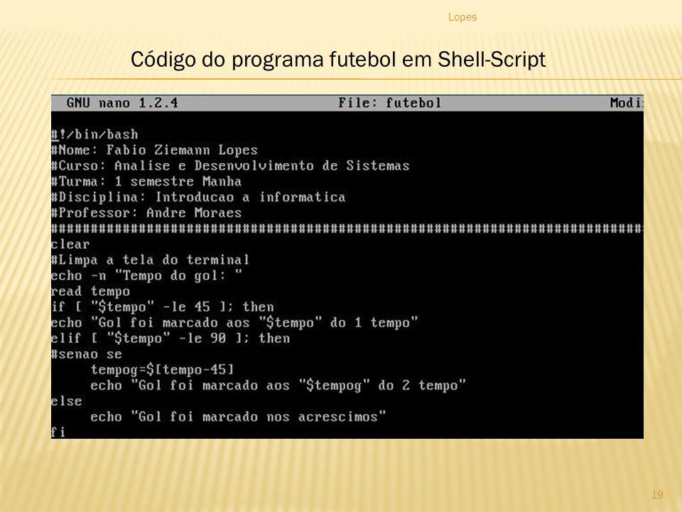 Código do programa futebol em Shell-Script