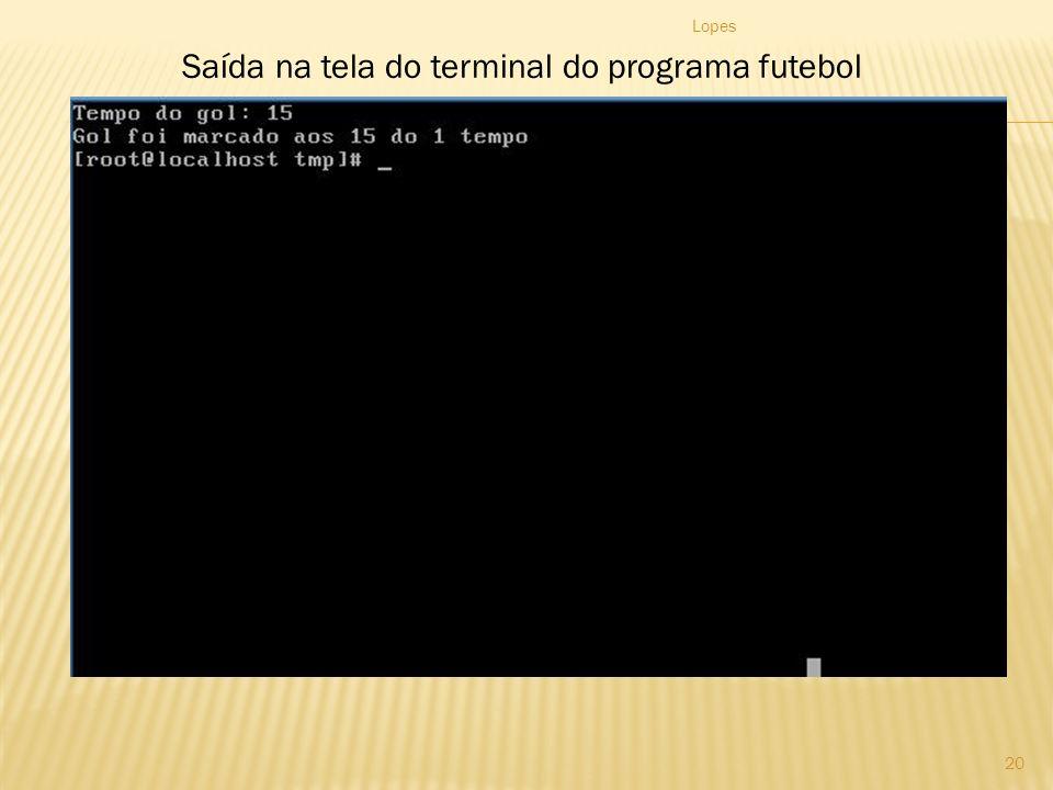 Saída na tela do terminal do programa futebol