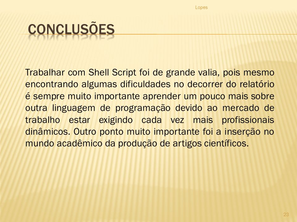 Lopes Conclusões.