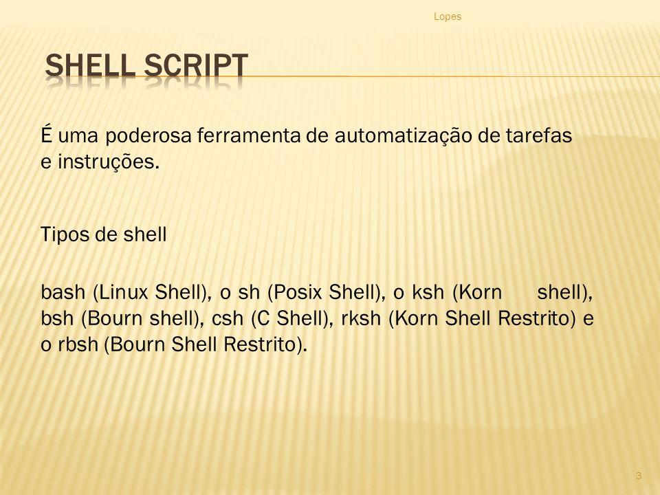 Lopes Shell Script. É uma poderosa ferramenta de automatização de tarefas e instruções. Tipos de shell.