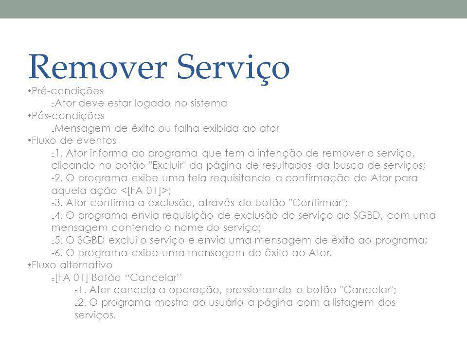 Remover Serviço Pré-condições Ator deve estar logado no sistema