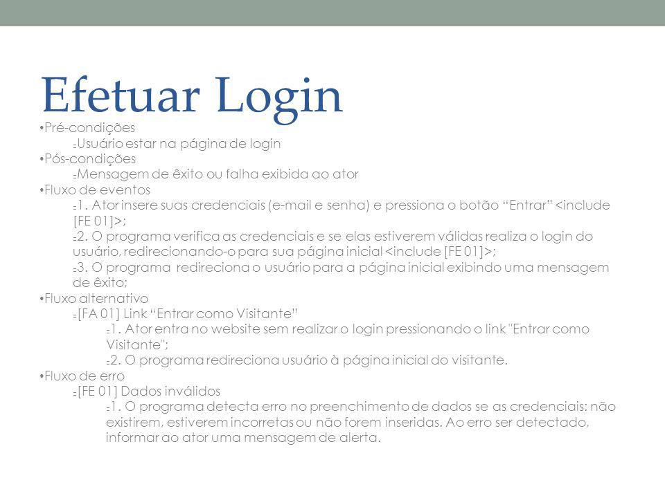 Efetuar Login Pré-condições Usuário estar na página de login