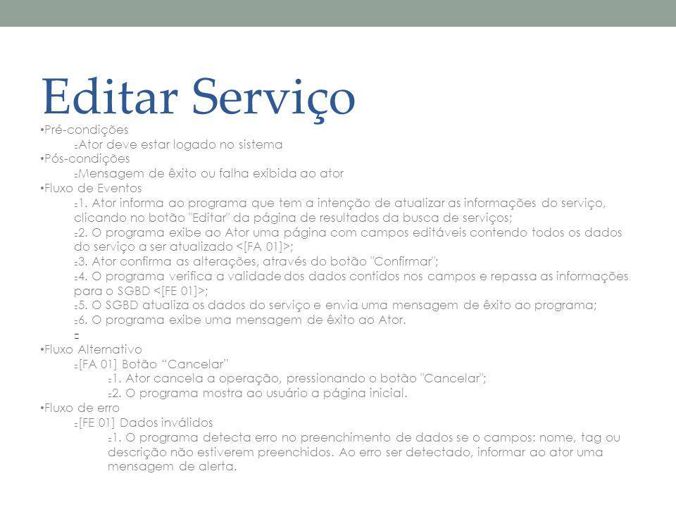 Editar Serviço Pré-condições Ator deve estar logado no sistema