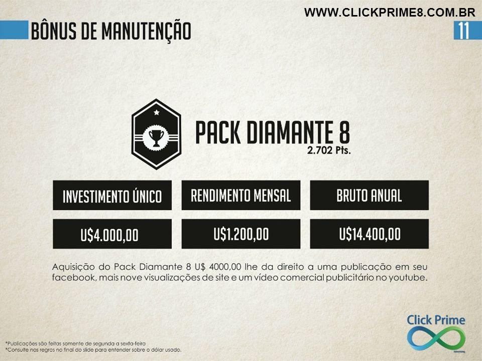 WWW.CLICKPRIME8.COM.BR Start-Click é o mesmo que Pré-Cadastro no valor de U$ 50,00 (R$100 moeda local) que se reverte.