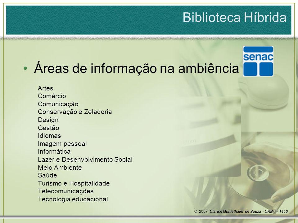 Áreas de informação na ambiência