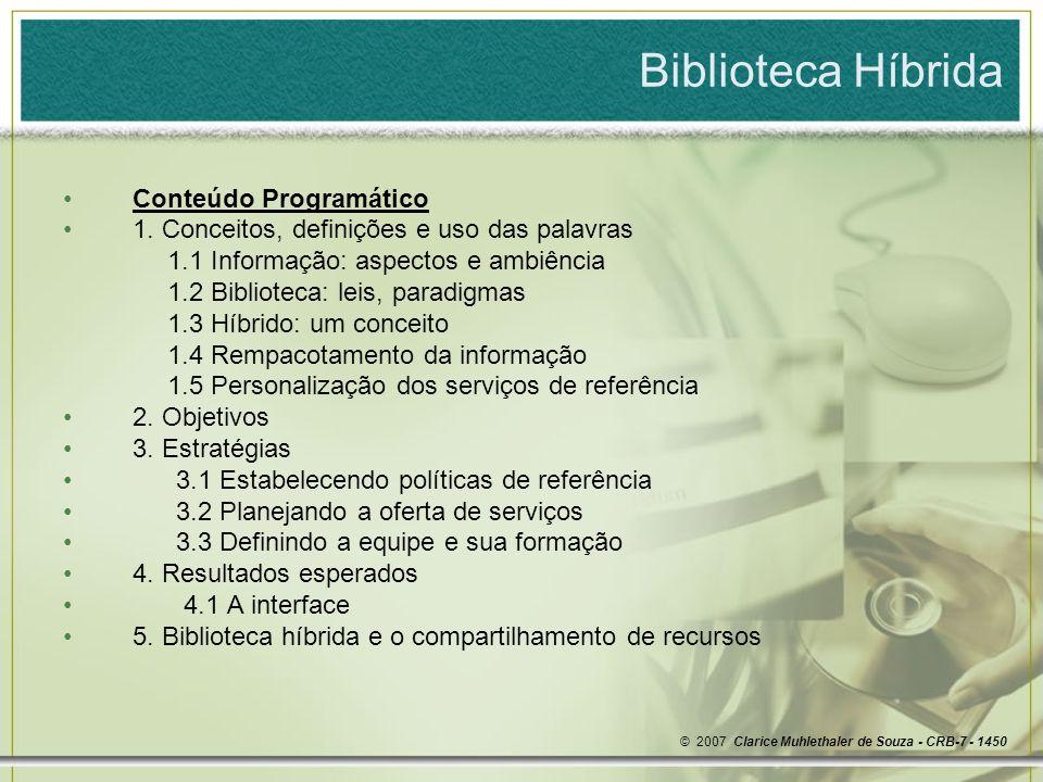 Biblioteca Híbrida Conteúdo Programático