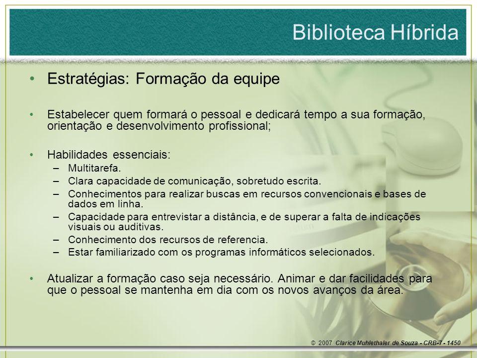 Biblioteca Híbrida Estratégias: Formação da equipe