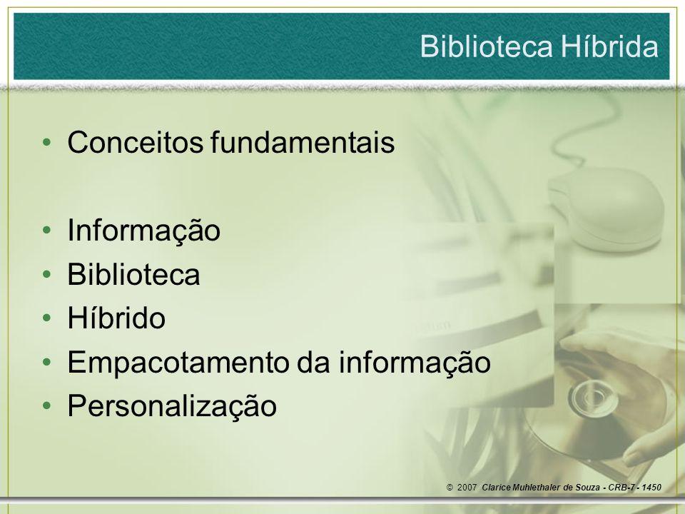 Conceitos fundamentais Informação Biblioteca Híbrido
