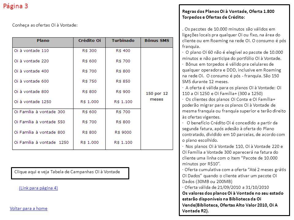 Página 3 Regras dos Planos Oi à Vontade, Oferta 1.800 Torpedos e Ofertas de Crédito: