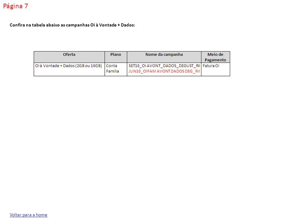Página 7 Confira na tabela abaixo as campanhas Oi à Vontade + Dados:
