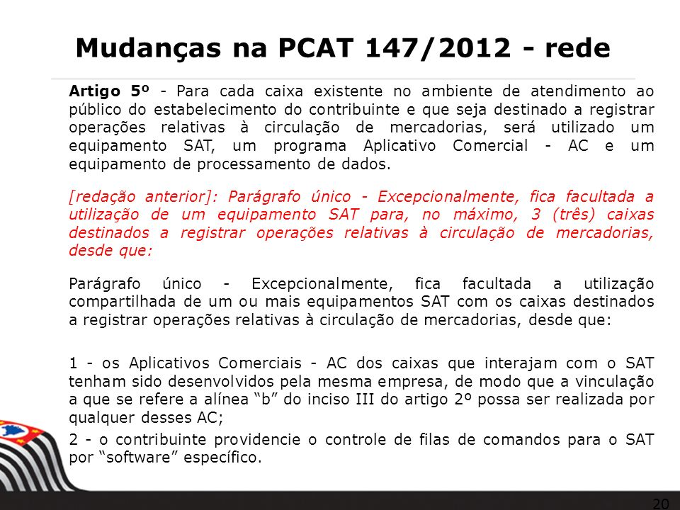Mudanças na PCAT 147/2012 - rede