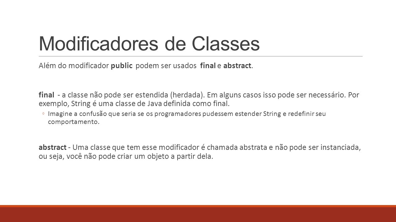 Modificadores de Classes