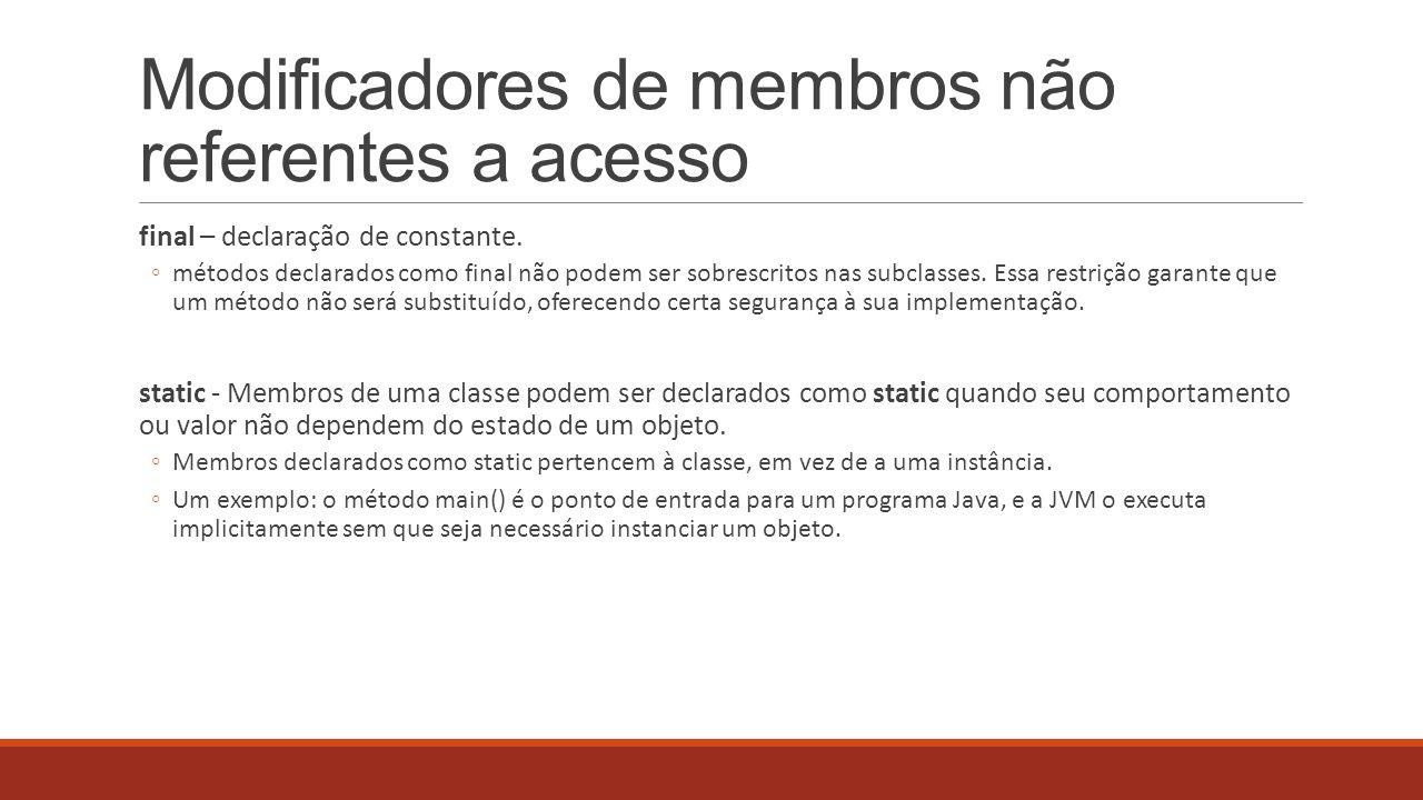 Modificadores de membros não referentes a acesso