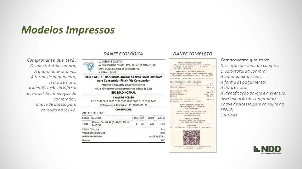 Modelos Impressos DANFE ECOLÓGICA DANFE COMPLETO