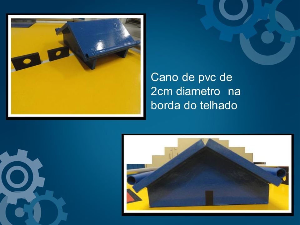 Cano de pvc de 2cm diametro na borda do telhado
