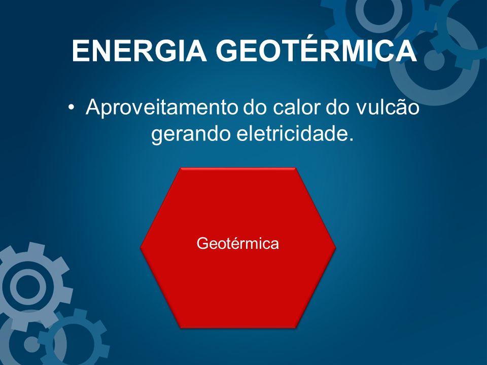 Aproveitamento do calor do vulcão gerando eletricidade.