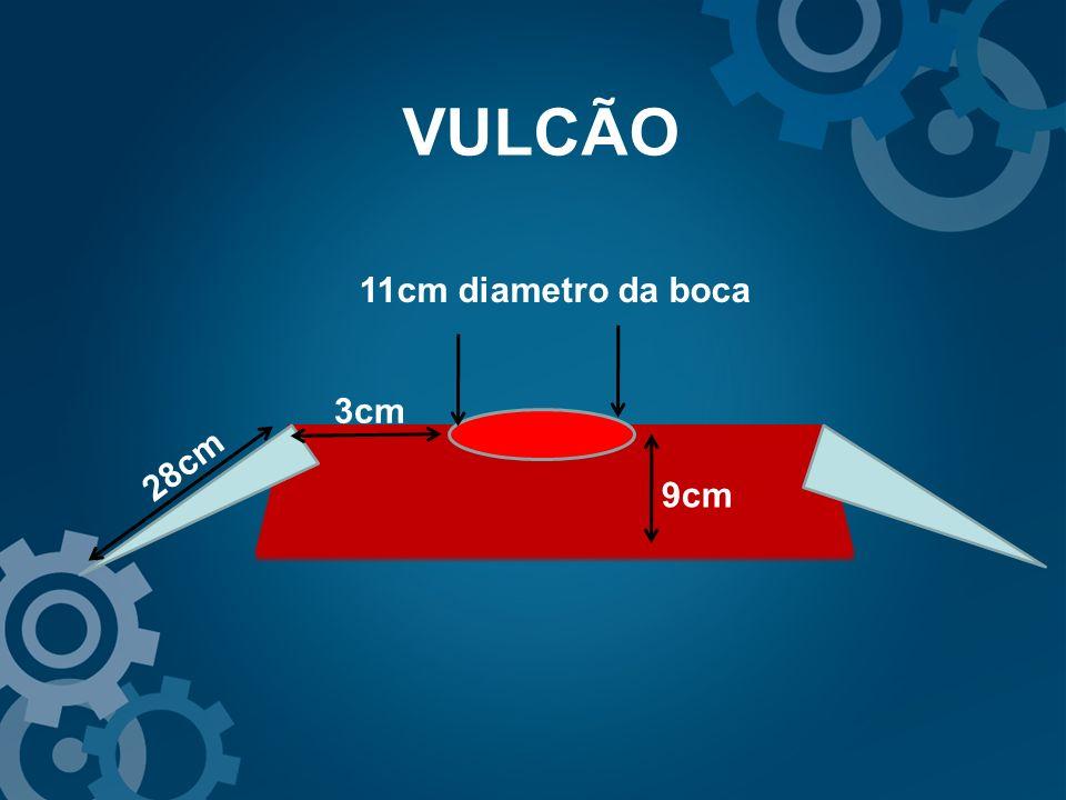VULCÃO 11cm diametro da boca 3cm 28cm 9cm