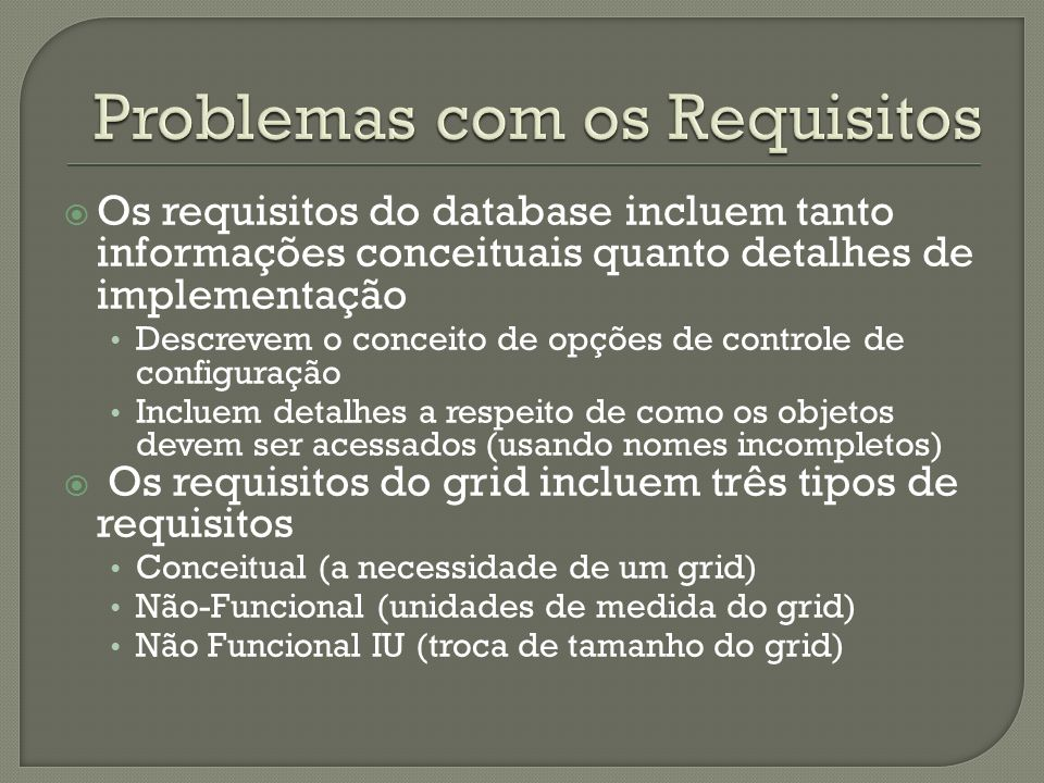 Problemas com os Requisitos