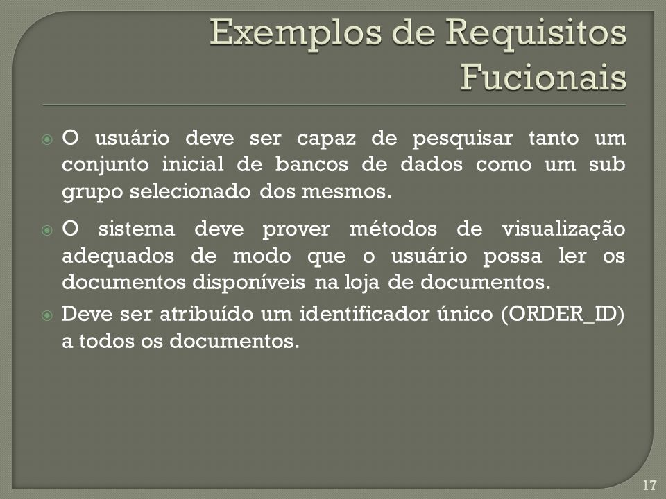 Exemplos de Requisitos Fucionais