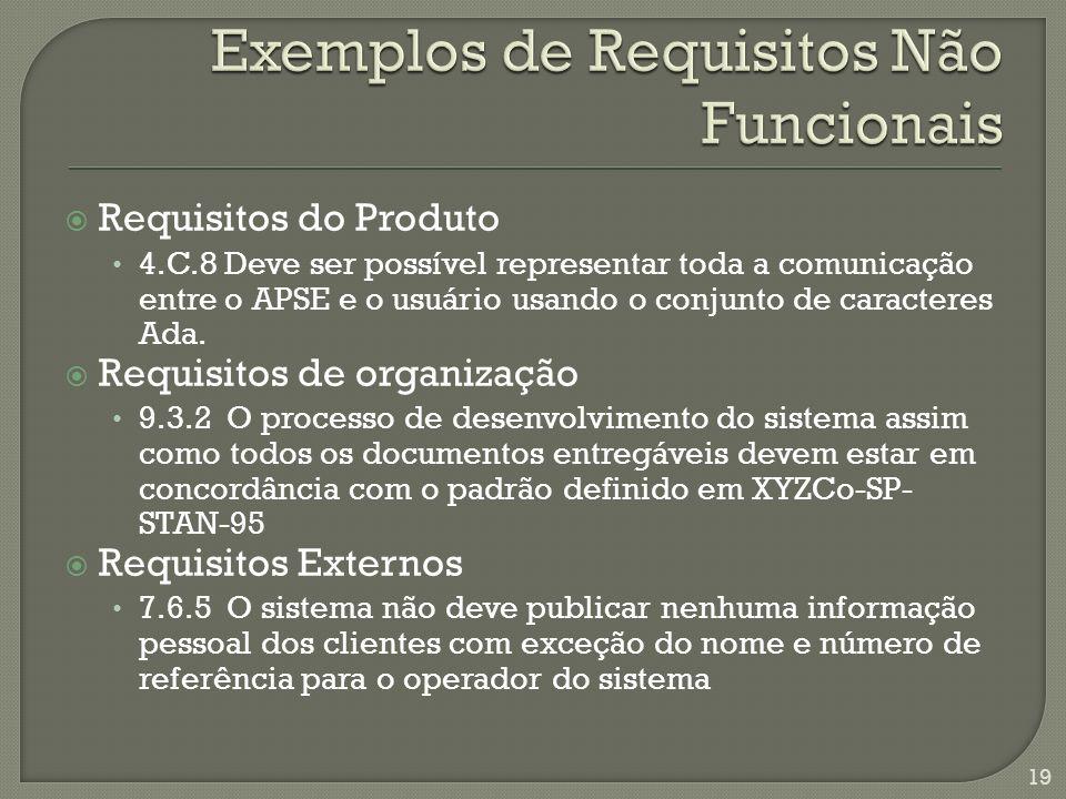 Exemplos de Requisitos Não Funcionais