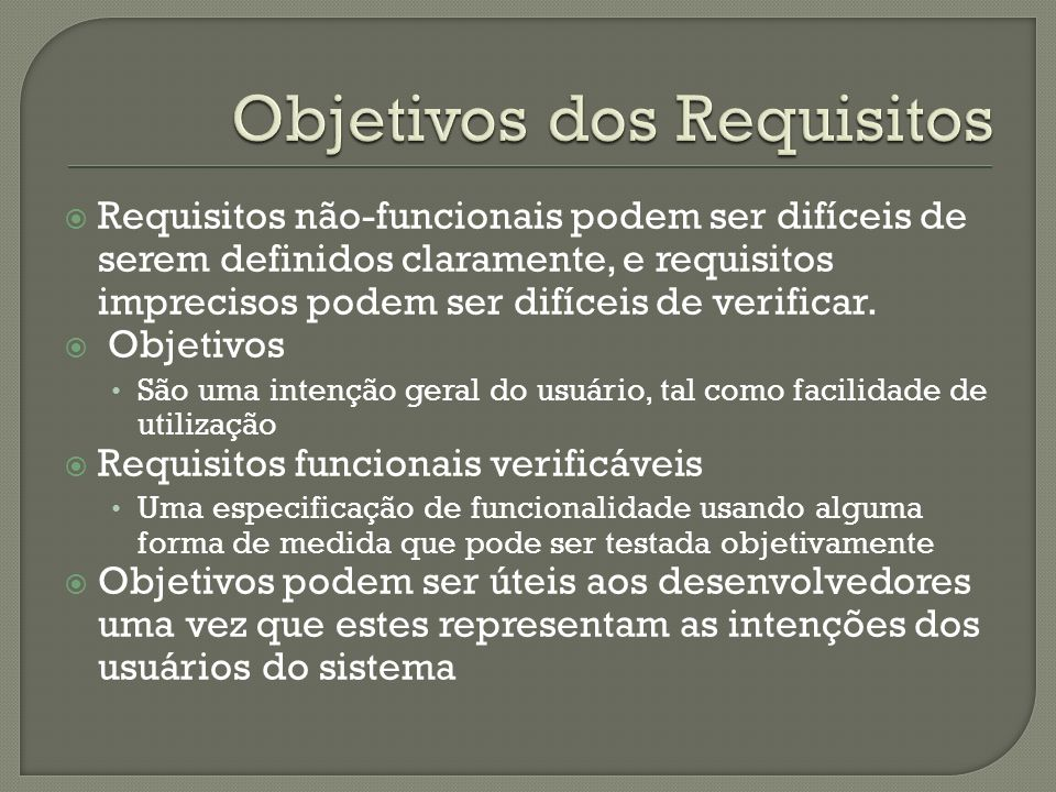 Objetivos dos Requisitos