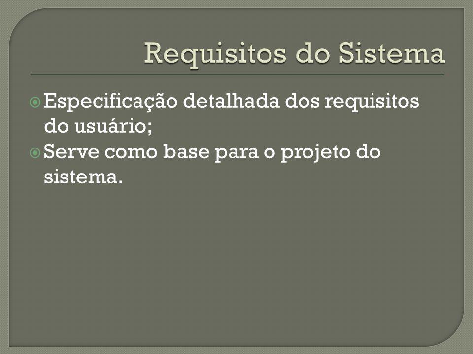 Requisitos do Sistema Especificação detalhada dos requisitos do usuário; Serve como base para o projeto do sistema.