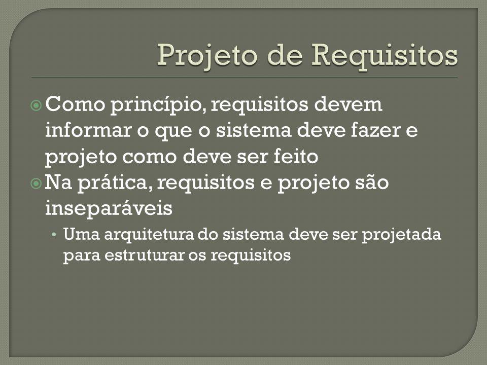 Projeto de Requisitos Como princípio, requisitos devem informar o que o sistema deve fazer e projeto como deve ser feito.