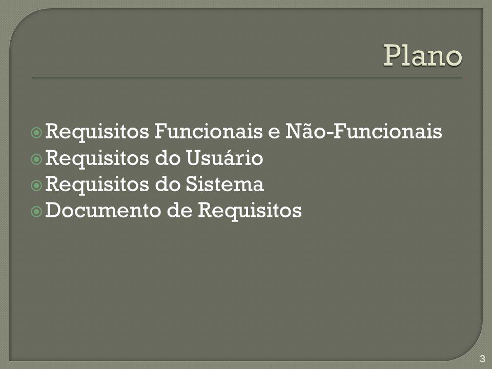 Plano Requisitos Funcionais e Não-Funcionais Requisitos do Usuário