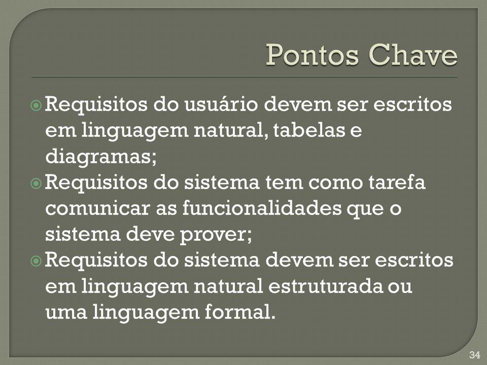Pontos Chave Requisitos do usuário devem ser escritos em linguagem natural, tabelas e diagramas;