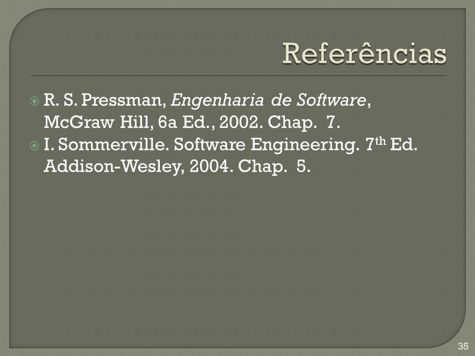 Referências R. S. Pressman, Engenharia de Software, McGraw Hill, 6a Ed., 2002. Chap. 7.