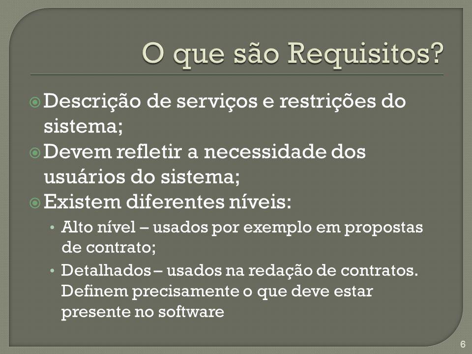 O que são Requisitos Descrição de serviços e restrições do sistema;