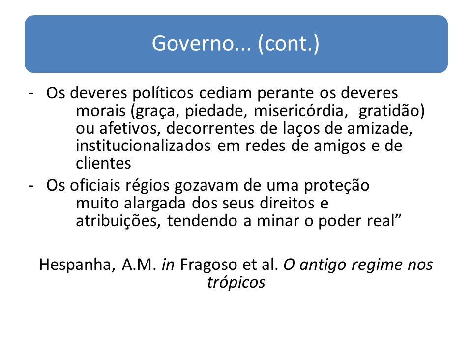 Hespanha, A.M. in Fragoso et al. O antigo regime nos trópicos
