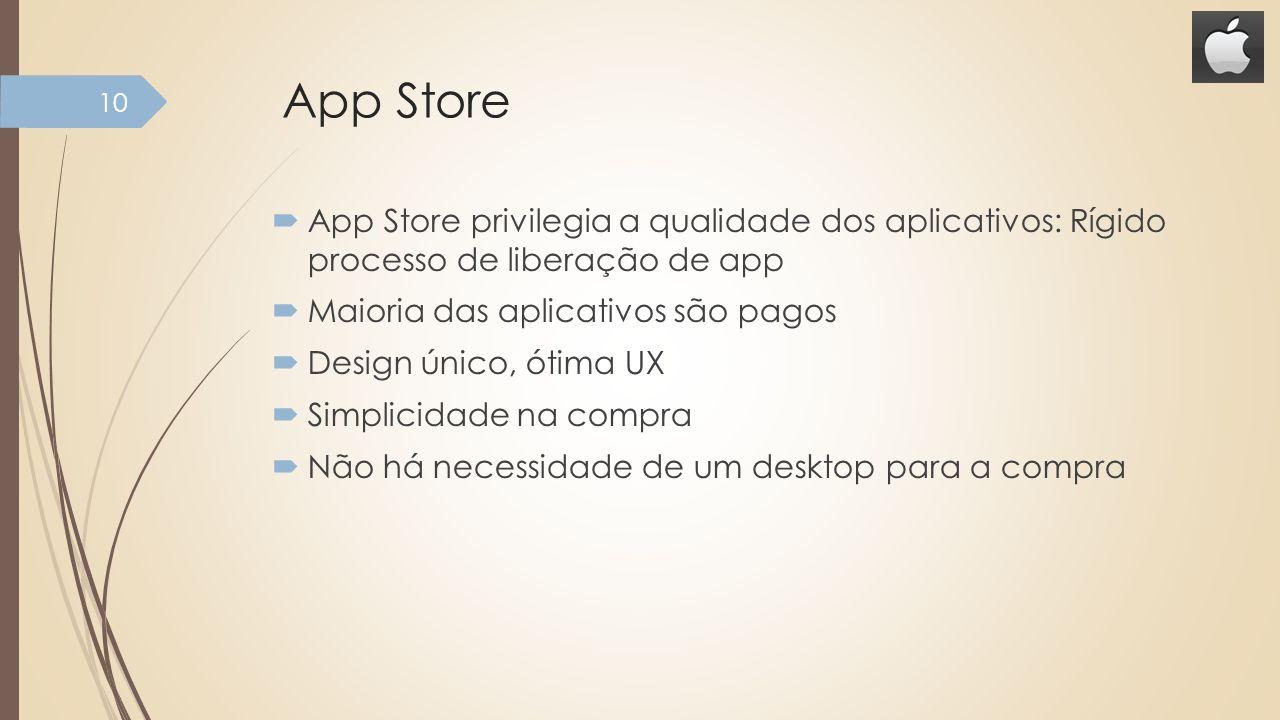 App Store App Store privilegia a qualidade dos aplicativos: Rígido processo de liberação de app. Maioria das aplicativos são pagos.