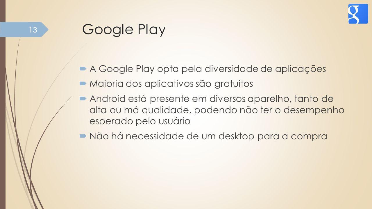 Google Play A Google Play opta pela diversidade de aplicações