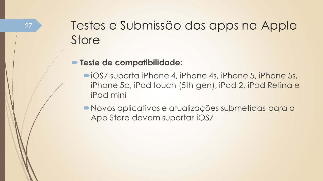Testes e Submissão dos apps na Apple Store