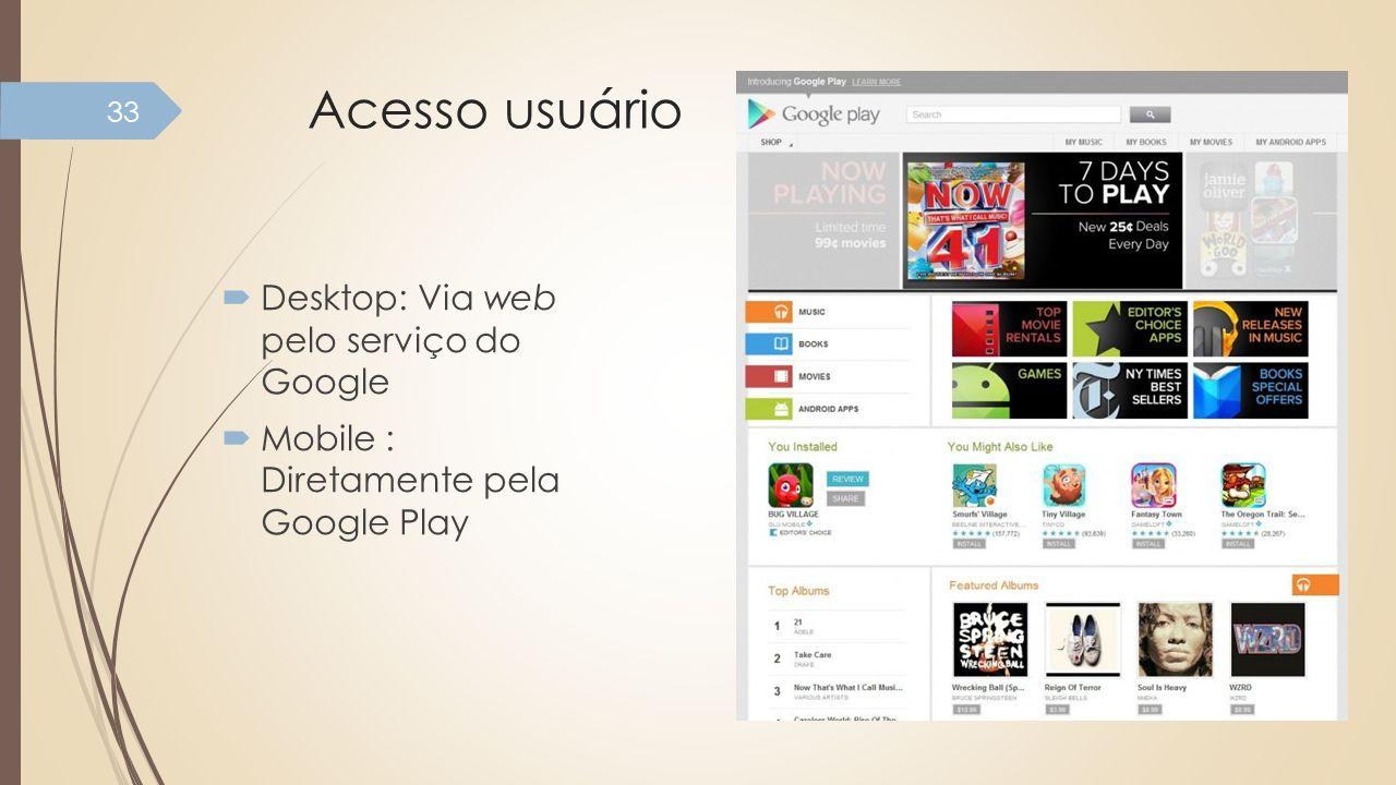 Acesso usuário Desktop: Via web pelo serviço do Google