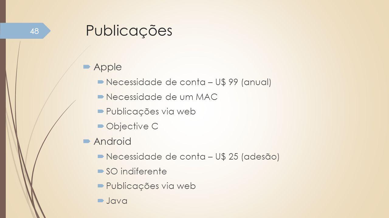 Publicações Apple Android Necessidade de conta – U$ 99 (anual)