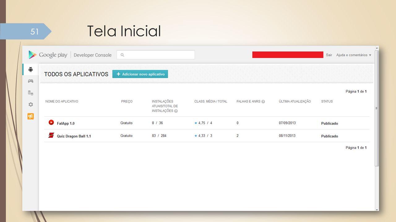 Tela Inicial Tela de gerenciamento de aplicações submetidas